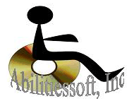 Logo: the accessability symbol with a disk for the wheel.